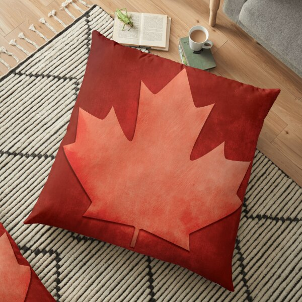Stone Wash Canadian Maple Leaf Floor Pillow