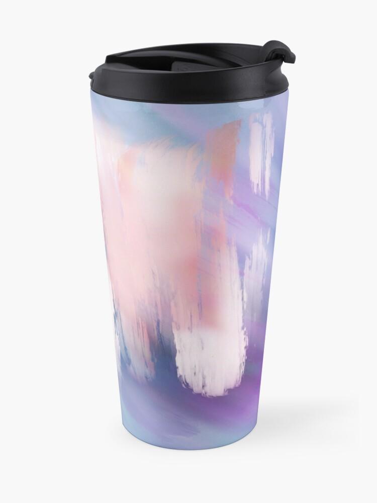 Alternate view of Abstract Painting Purple Blue Peach Salmon Travel Mug