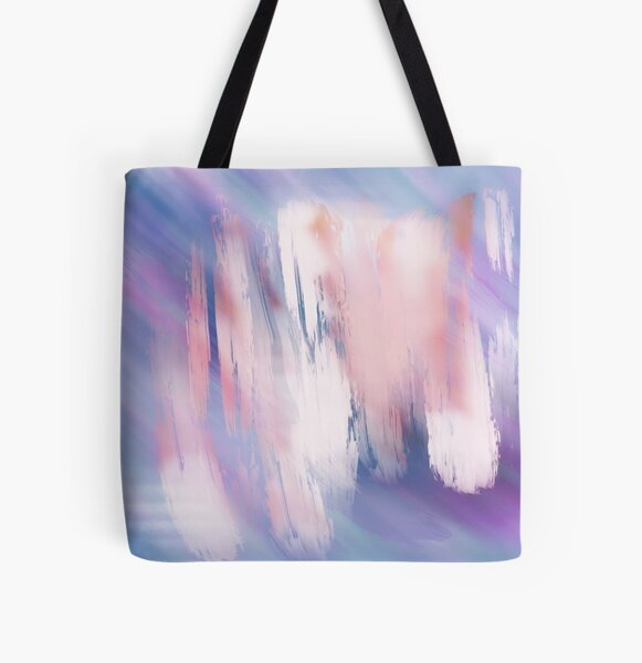 Abstract Painting Purple Blue Peach Salmon All Over Print Tote Bag