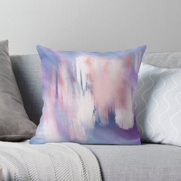 Abstract Painting Purple Blue Peach Salmon Throw Pillow