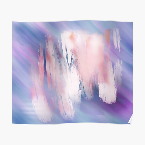 Abstract Painting Purple Blue Peach Salmon Poster