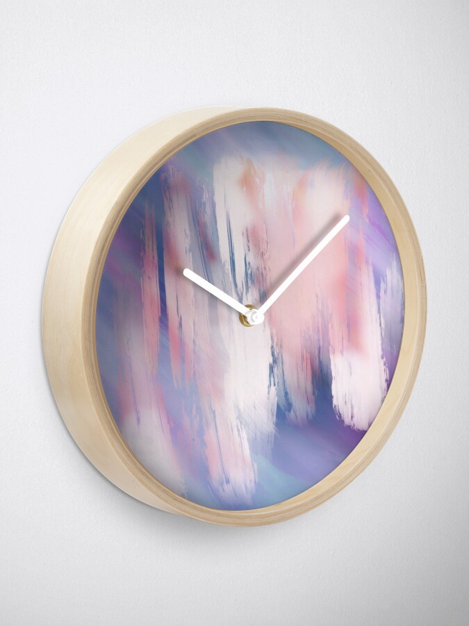 Alternate view of Abstract Painting Purple Blue Peach Salmon Clock