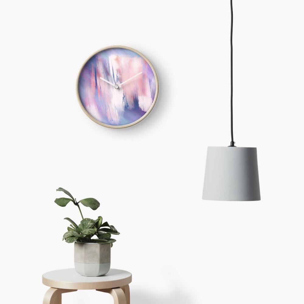 Abstract Painting Purple Blue Peach Salmon Clock