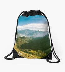 Autumn morning in the alps Drawstring Bag