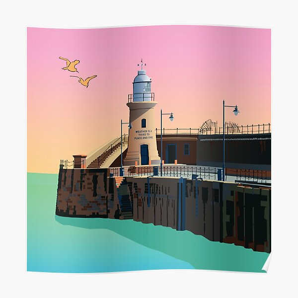 Folkestone Lighthouse, End of Pier Kent, England, UK Poster