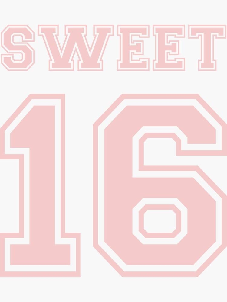 Sweet Sixteen - Jersey Numbers - Pink by KatieBuggDesign