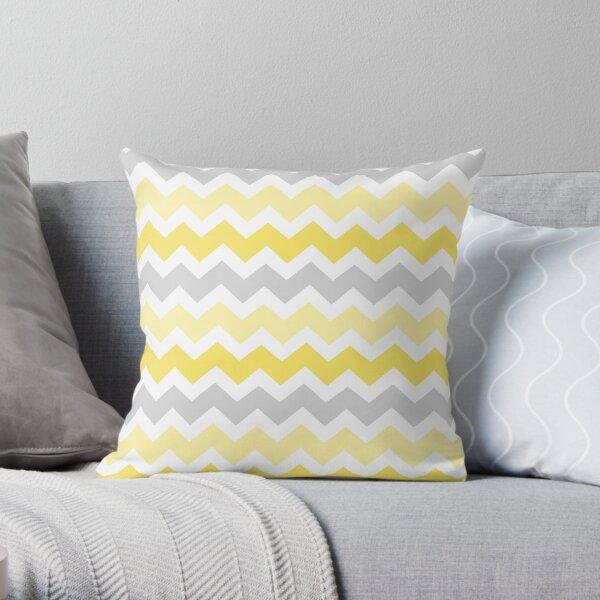Yellow Grey Chevron Pattern Throw Pillow