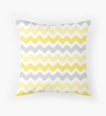 Yellow Grey Chevron Pattern Throw Pillow