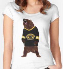 Boston Bruins Bear Women's Fitted Scoop T-Shirt