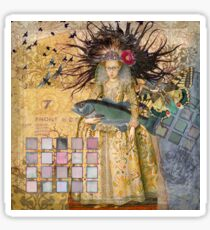 Whimsical Pisces Woman Renaissance fishing Gothic Sticker