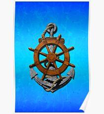 Nautical Ships Wheel And Anchor Poster