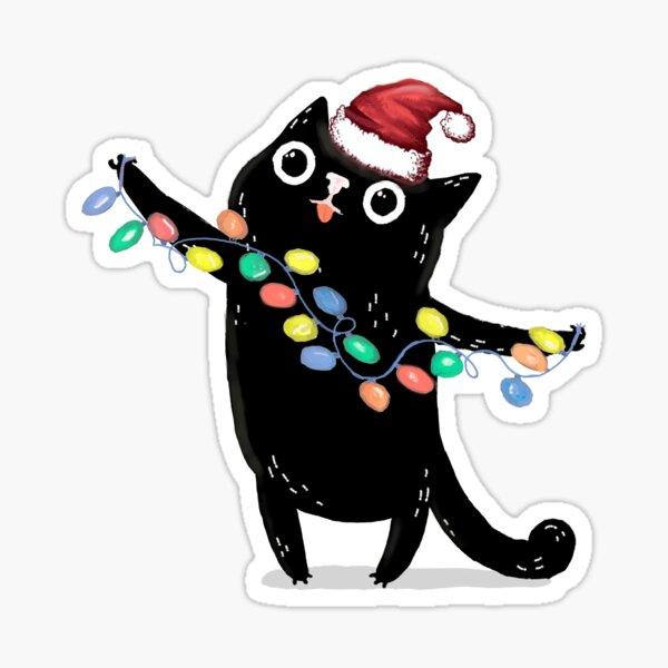 BLACK CHRISTMAS CAT Sticker