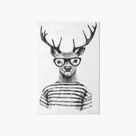 Deer human style Cute Deer with Glasses Art Board Print