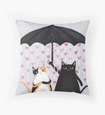 Love Rains Down Cats Throw Pillow