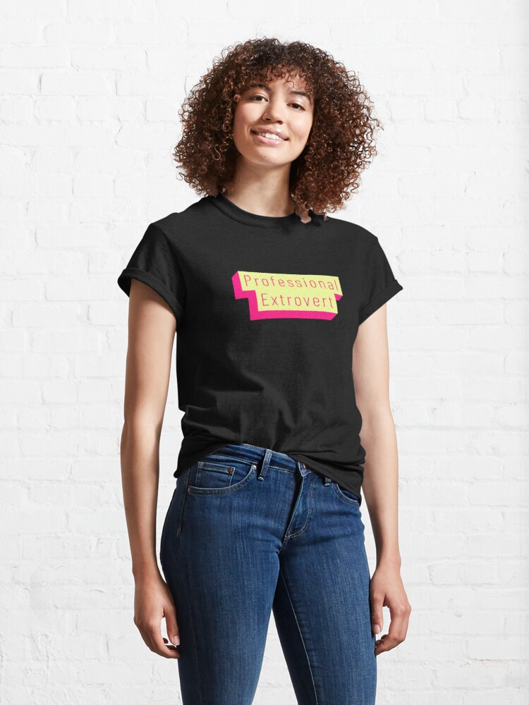 Alternate view of Funny Professional Extrovert Label in flashy colors Classic T-Shirt