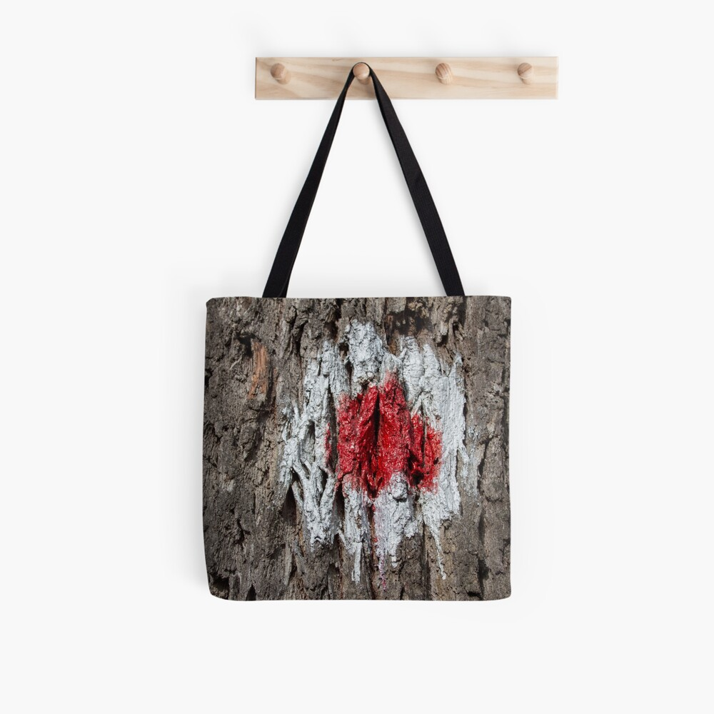 Forest tree, marked with red and white circle, wooded bark texture, original photography  Tote Bag