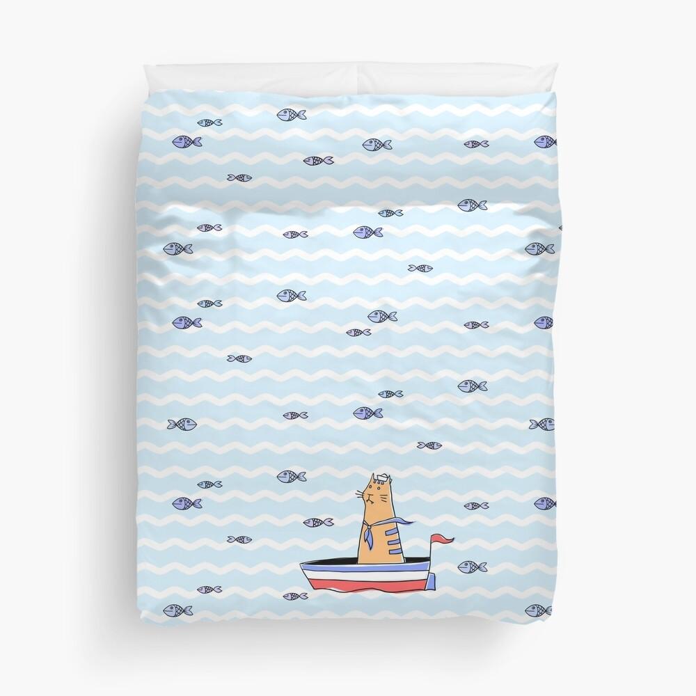 Salty sailor cat. Duvet Cover
