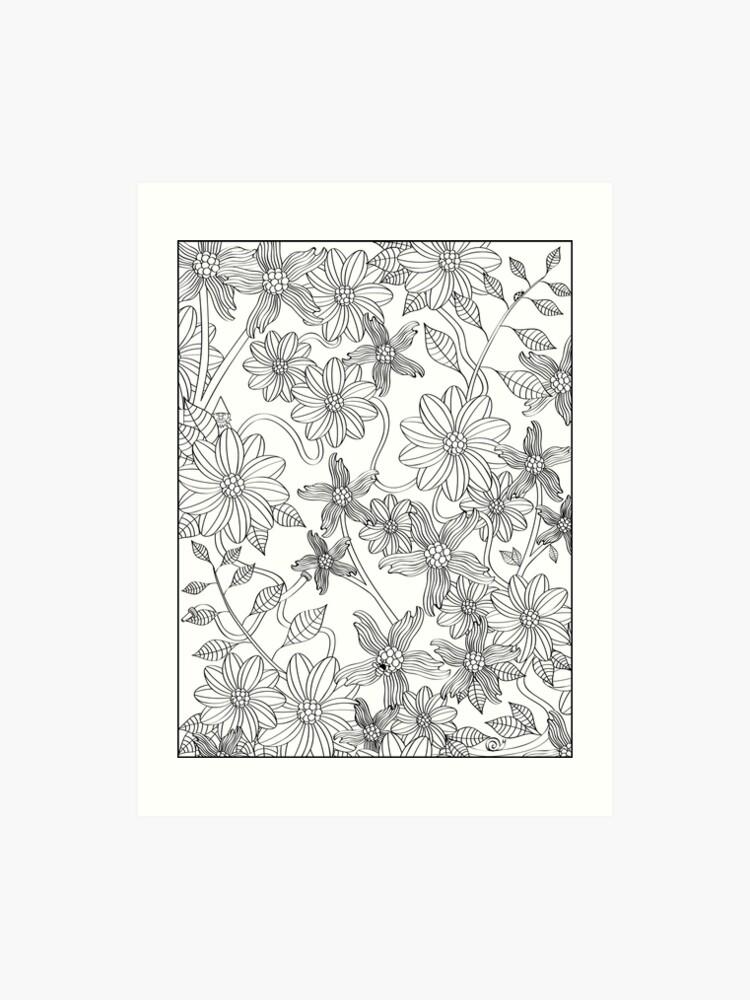 Enchanting English Garden Adult Coloring Art Print Art Print
