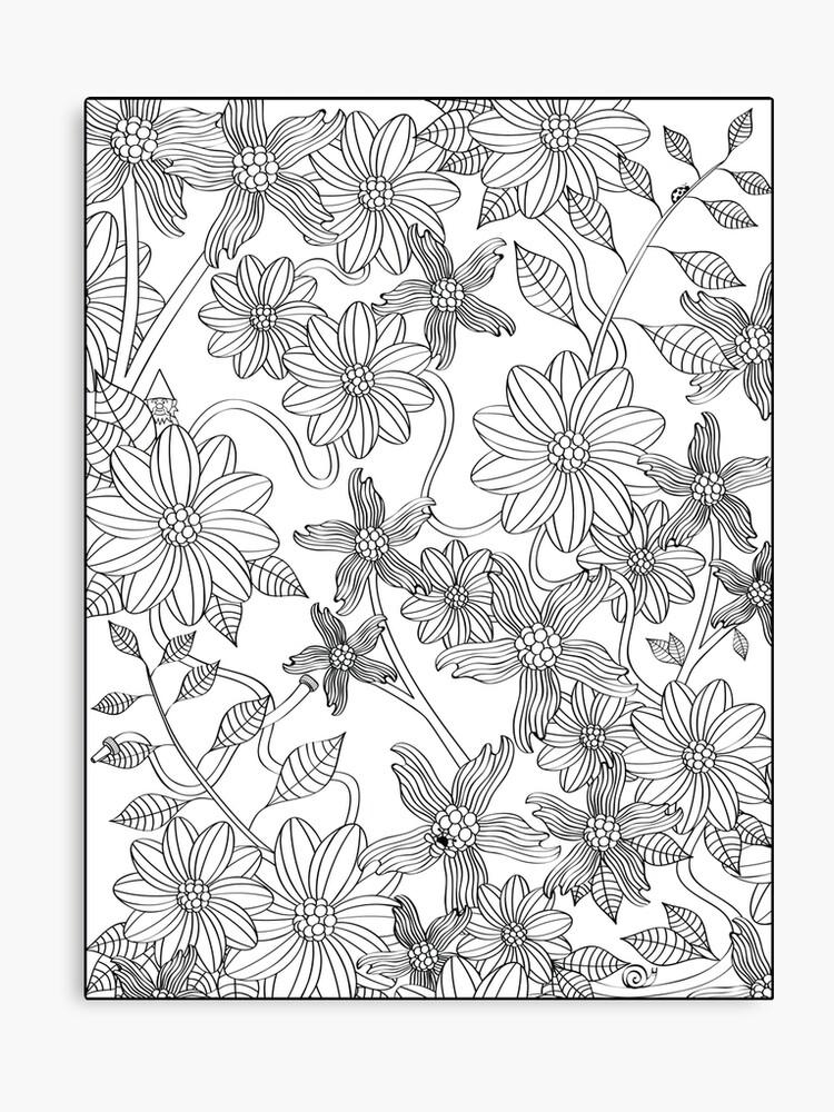 Enchanting English Garden Adult Coloring Art Print Canvas Print