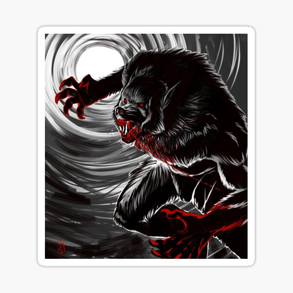 Blood Moon (B&W Version) Sticker