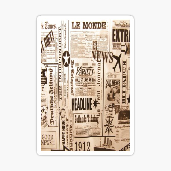 old newspaper pattern Sticker