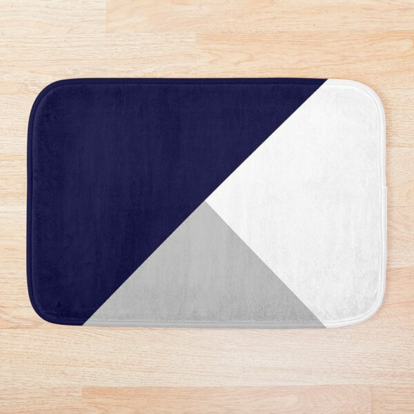 Tricolor Navy Blue Silver Gray And White Bath Mat