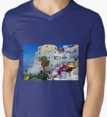 Santorini Island Greece Mens V-Neck T-Shirt