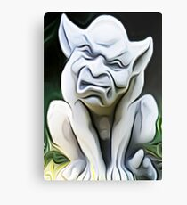 'Crouching Gargoyle' - Smooth Texture Abstract Gargoyle Canvas Print