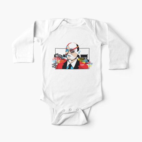 Moshe Dayan portrait - Pop Art Israeli leader Long Sleeve Baby One-Piece