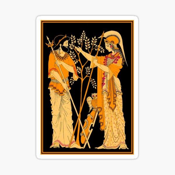POSEIDON and ATHENA : Vintage Greek God and Goddess Print Sticker