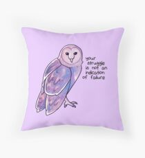 """Your Struggle is Not an Indication of Failure"" Galaxy Sparkle Owl Throw Pillow"