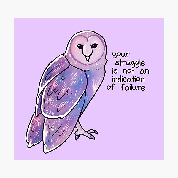 """Your Struggle is Not an Indication of Failure"" Galaxy Sparkle Owl Photographic Print"