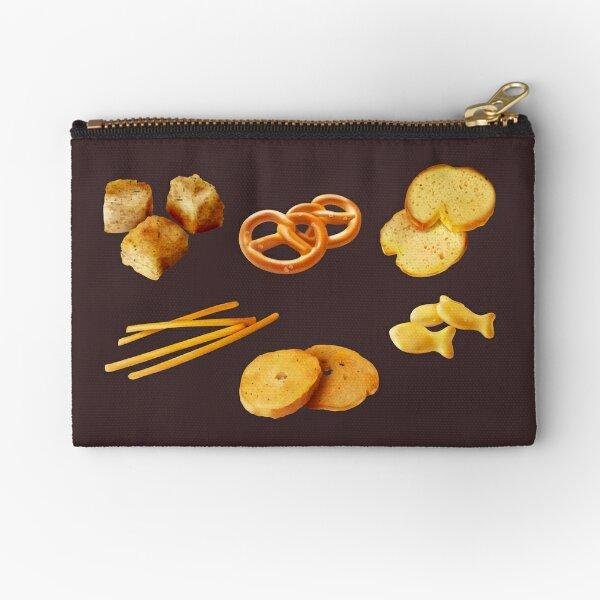 Assorted Snack Pack - Cheese Sticks, Goldfish Cracker, Mini Pretzels, Garlic Croutons, Biscuits, Crostini Zipper Pouch