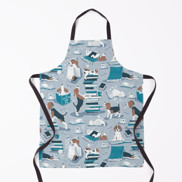 Life is better with books a hot drink and a friend // blue background brown white and blue beagles and cats and turquoise cozy details Apron