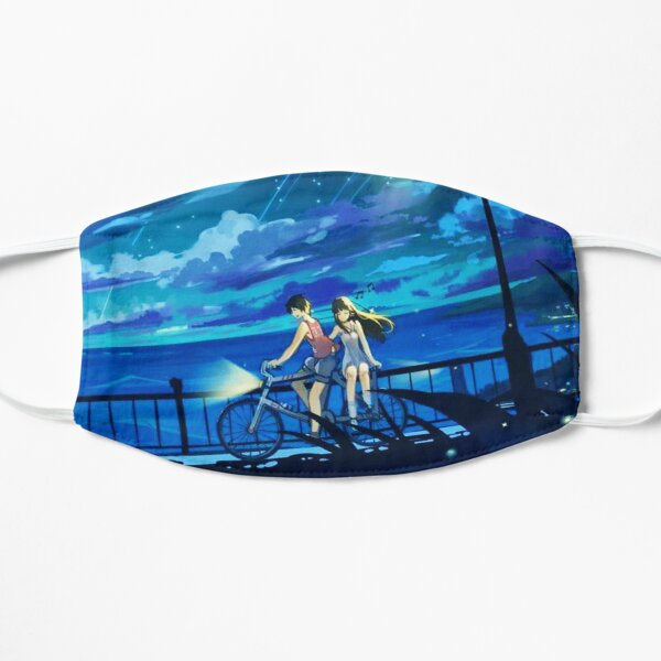 Bicycle Under Meteor Sky Shower  Flat Mask