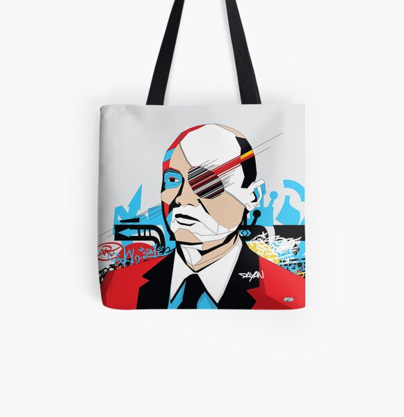Moshe Dayan portrait - Pop Art Israeli leader All Over Print Tote Bag