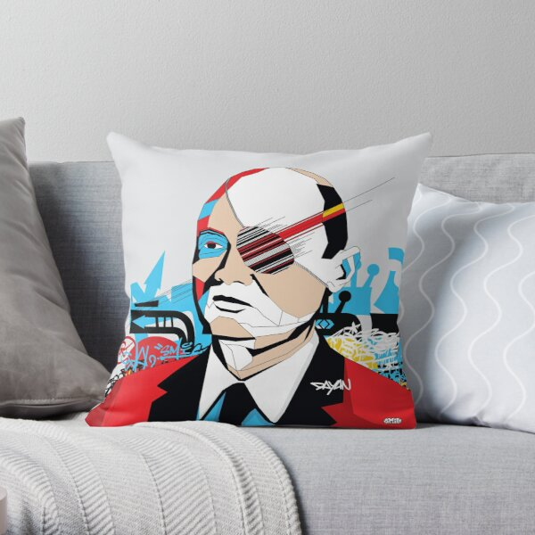 Moshe Dayan - Pop Art Israeli leader gift Throw Pillow