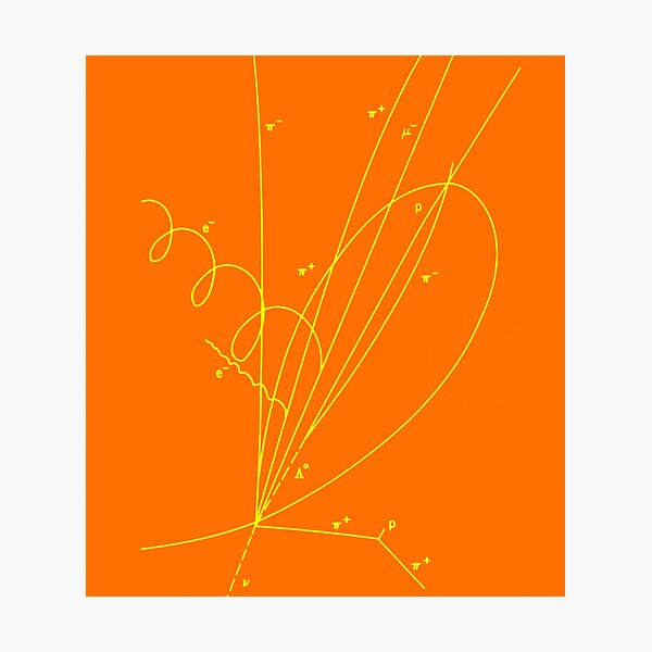 Discovery of Charmed Baryon Quark, Quantum Physics, Particle, Orange Photographic Print
