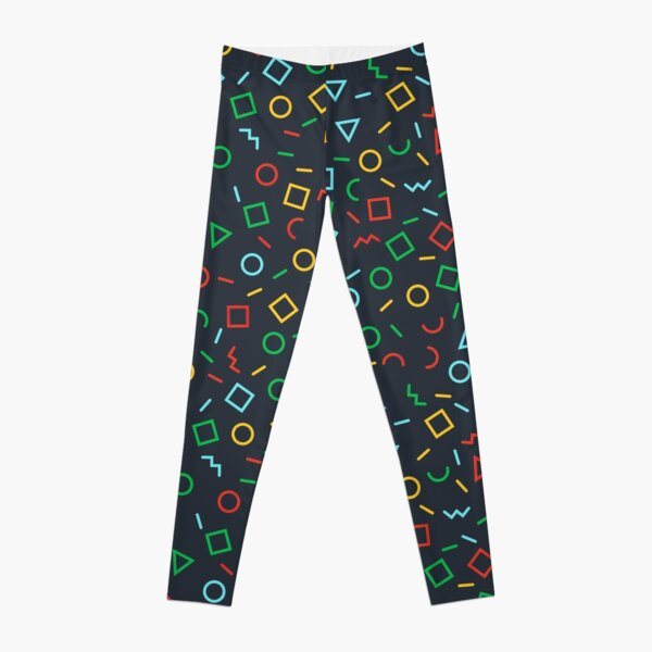 Coloured Shapes And Letters Geometric Pattern Leggings
