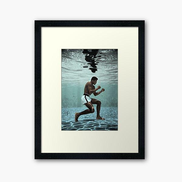 Muhammad Ali Boxing Under Water Framed Art Print