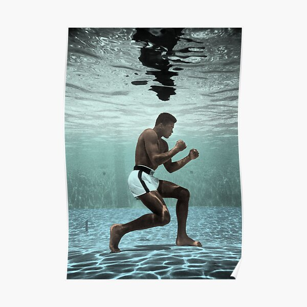 Muhammad Ali Boxing Under Water Poster