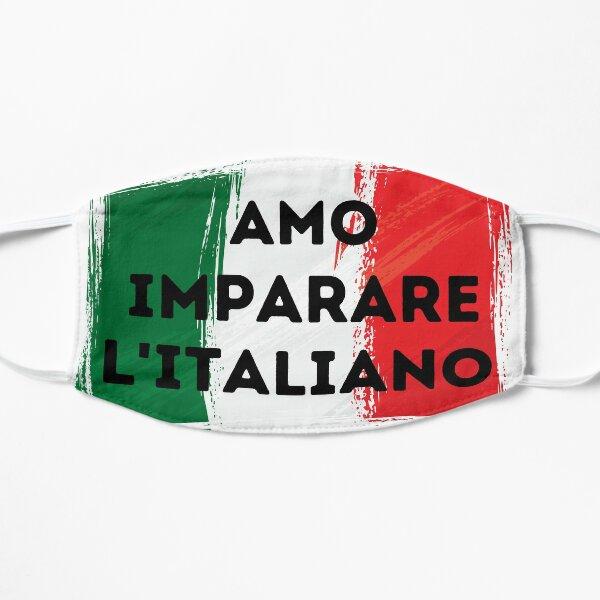 I LOVE LEARNING ITALIAN Language Quote Flag Flat Mask