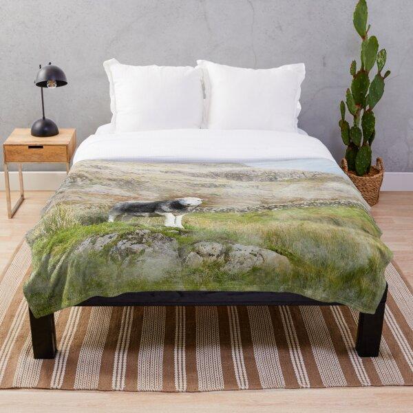 Herdwick Sheep Landscape Watercolour Photograph Throw Blanket