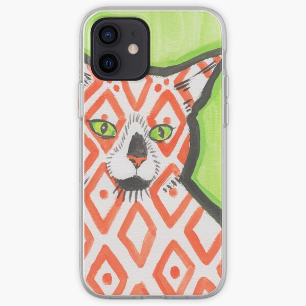 Patterned Cat Orange Diamonds iPhone Soft Case