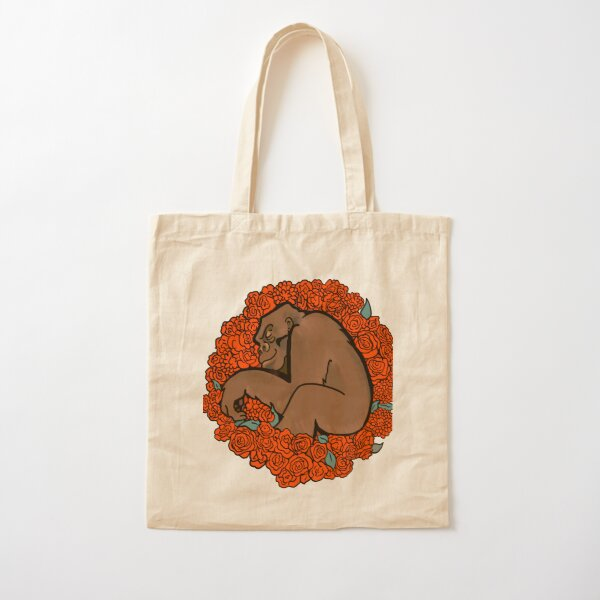 Gorilla Sleeping in a Bed of Roses Cotton Tote Bag