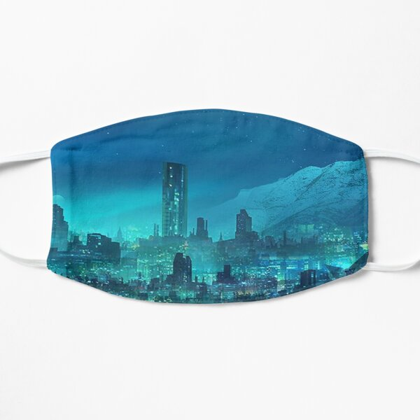 City Under The Moon Light Flat Mask