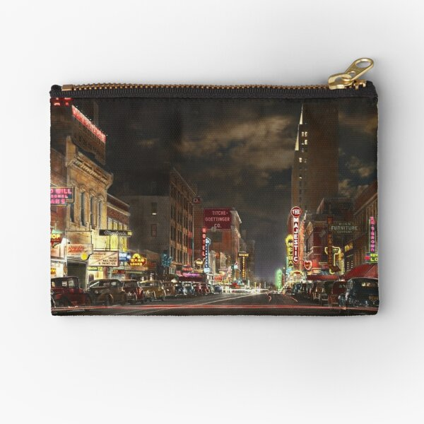 City - Dallas TX - Elm street at night 1941 Zipper Pouch