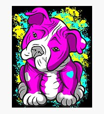Pit Bull Pup Tilted Head Cartoon Pink  Photographic Print