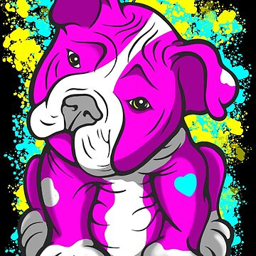 Pit Bull Pup Tilted Head Cartoon Pink  by Sookiesooker