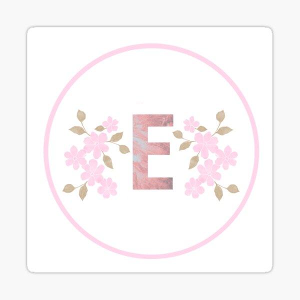Initial E Design Floral Sticker